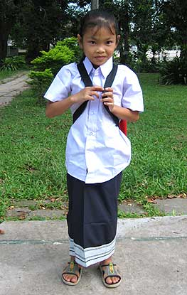 Vang on her first day of school