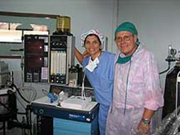 Dr. Sarah James with new anesthesia machine
